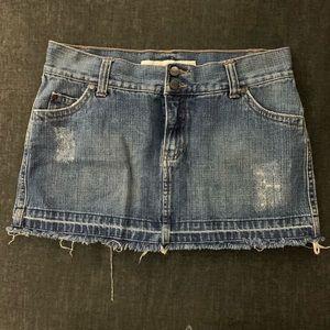 low rise denim skirt